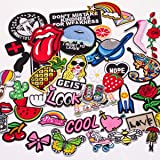 Butie.42pcs Embroidered Patch Sew On/Iron On Patches Applique Accessories Assorted Size Decoration Patches for DIY Jeans Jacket Clothing Handbag Shoes Caps (42PCS-RF-36) (Color: 42pcs-rf-36)