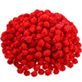 500 Pieces Glitter Pompoms 1 Inch Fuzzy Pom Poms Arts and Crafts Making Balls for Hobby Supplies and Craft DIY Decoration (Red) (Color: Red)