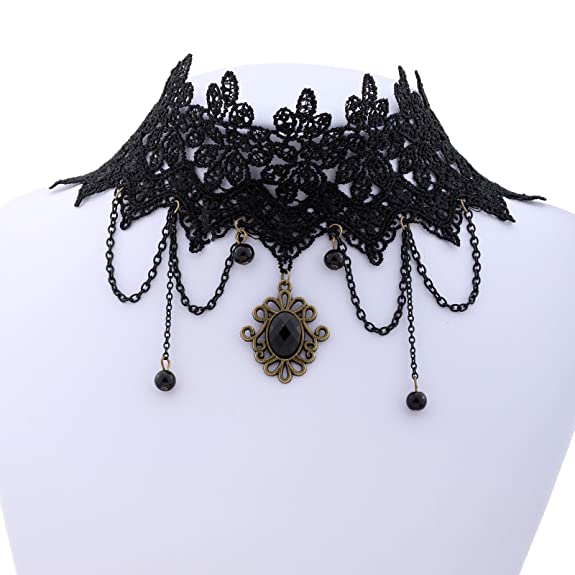 Yazilind Lolita Black Braided Fabric Lace Choker Beads Tassel Chain Necklace 14in -- $6.45