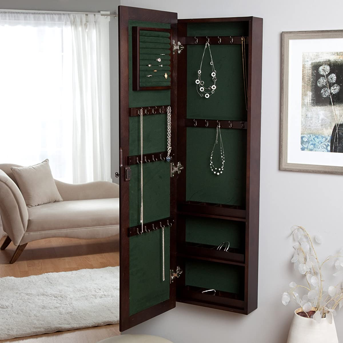 Wall-Mounted Locking Wooden Jewelry Armoire - 14.5W x 50H in.