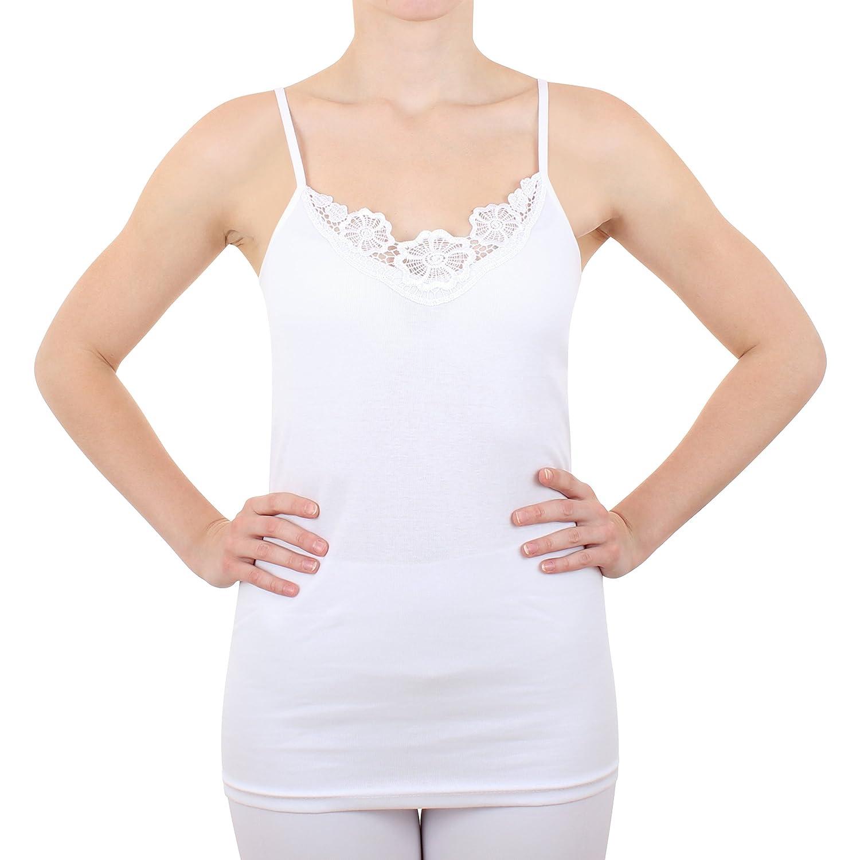 2er Pack Damen Hemd mit Spitze Feinripp aus 100% Baumwolle (Unterhemd, Top, Oberteil) Nr. 328/0210 ( Weiß )
