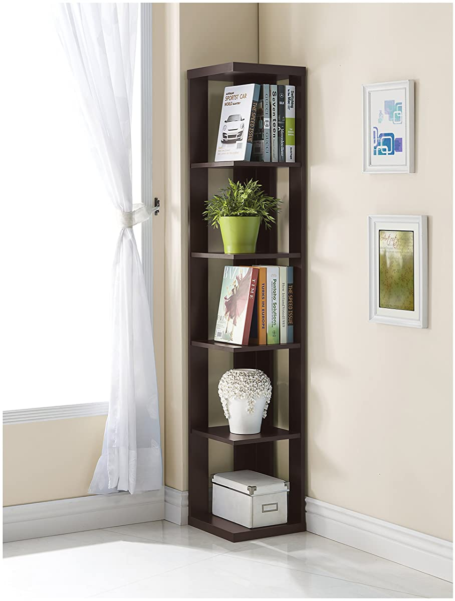 Cappuccino Finish Wood Wall Corner 5-Tier Bookshelf Bookcase