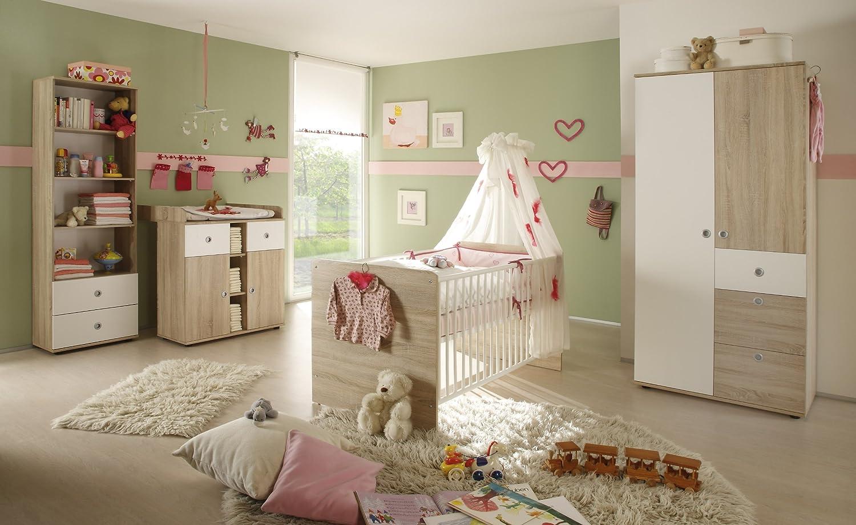 Babyzimmer Kinderzimmer Komplettset WIKI 1 in Eiche Sonoma / Weiss - Babymöbel komplett Set mit Kleiderschrank, Babybett, Lattenrost, Wickelkommode mit Wickelaufsatz
