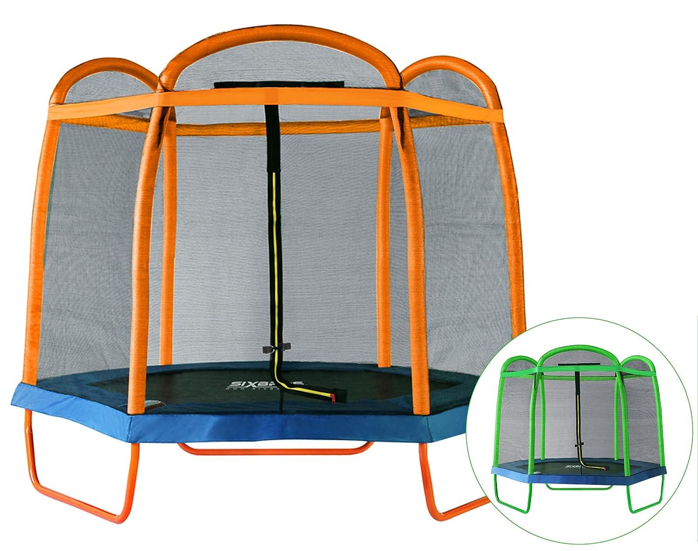 SixBros. SixJump 2,10 M Gartentrampolin Orange Trampolin mit Sicherheitsnetz TO210/2027 günstig