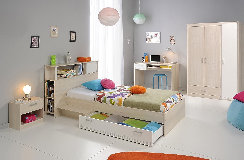 Jugendzimmer mit Bett 90 x 200 cm Akazie/ weiss