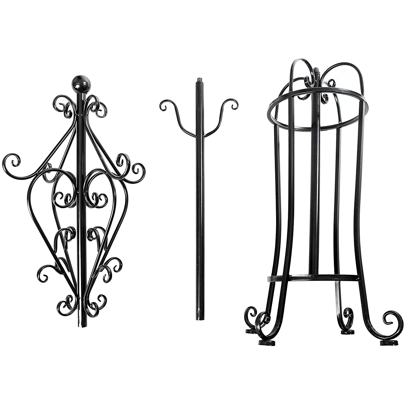 6' Freestanding Vintage Victorian Black Metal Scrollwork Coat Rack / Hat Hook Stand with Umbrella Holder 3