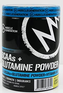Musclegeneration BCAAs + Glutamine Powder 400g (Lemon) | hochdosierte essentielle Aminosäuren