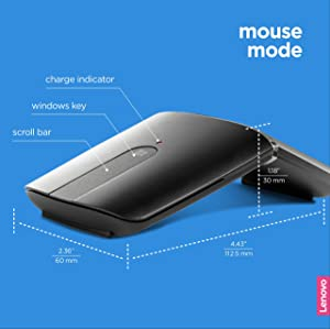 Lenovo Yoga Mouse, Black, Ultra slim 13.5mm, 180 degree rotatable hinge, 2.4G or Bluetooth 4.0 wireless connection, Multilayer adaptive touchpad, Rechargeable battery, GX30K69565 (Color: Black)