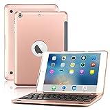 iPad Mini Keyboard Case, BoriYuan Bluetooth Wireless Keyboard Folio Flip Smart Cover for Apple iPad Mini 3/ Mini 2/ Mini 1 with Folding Stand and Auto Sleep/Wake Function (Rose Gold) (Color: Rose Gold, Tamaño: iPad Mini 1/ Mini 2/ Mini 3)