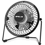 OPOLAR 4 Inch USB Desk Personal Fan with 2 Setting, Metal Design, Quiet Operation, 360 Rotation, Portable Mini Table Fan, Perfect for Home, Office, Desktop (Color: Black+white, Tamaño: 4 Inch)