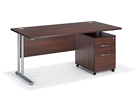 Walnut Cantilever Desk Bundle With A 2 Draw Under Pedestal