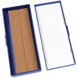 Heathrow Scientific HD15996A Blue Cork Lined 50 Place Microscope Slide Box, 8.3