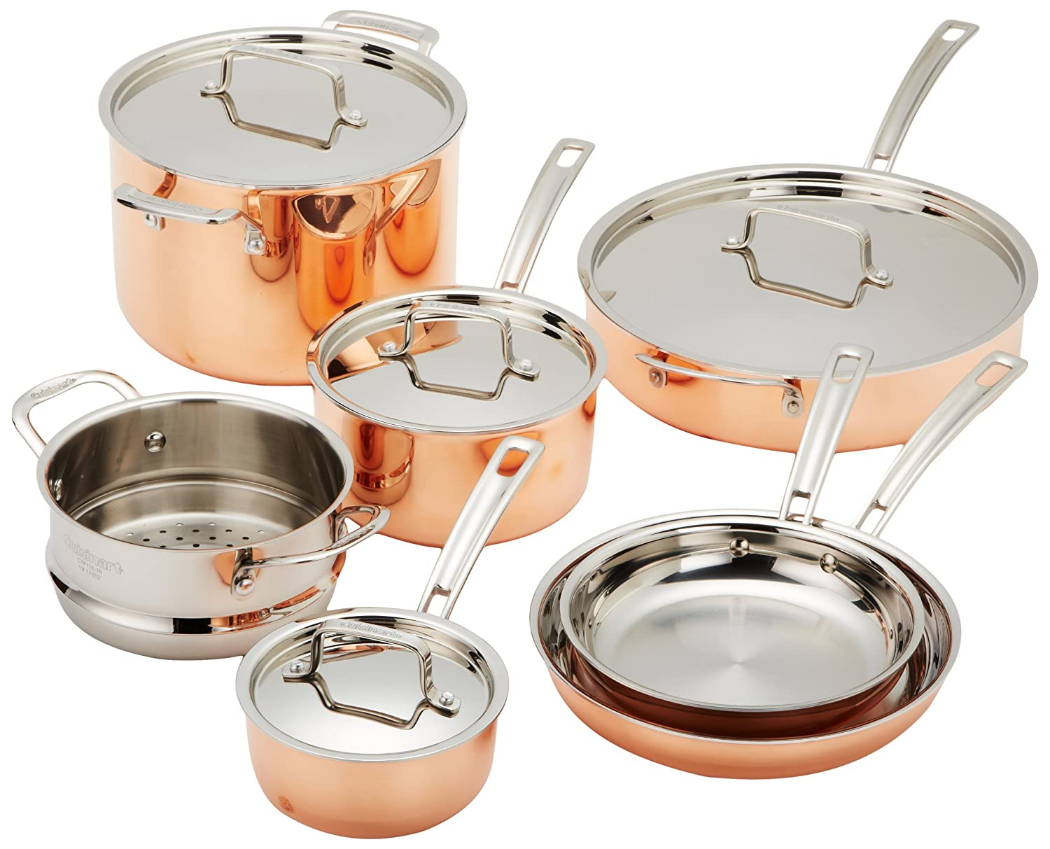 Cuisinart CTP-11AM Copper Tri-Ply Stainless Steel 11-Piece Cookware Set $329.99
