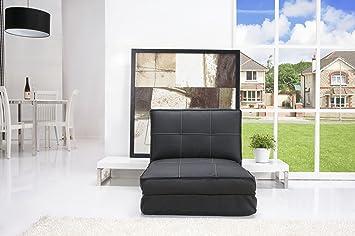 Echtwerk EW-SS-0790 Schlafsessel Relax Kunstleder, 136 x 77 x 28 cm, schwarz