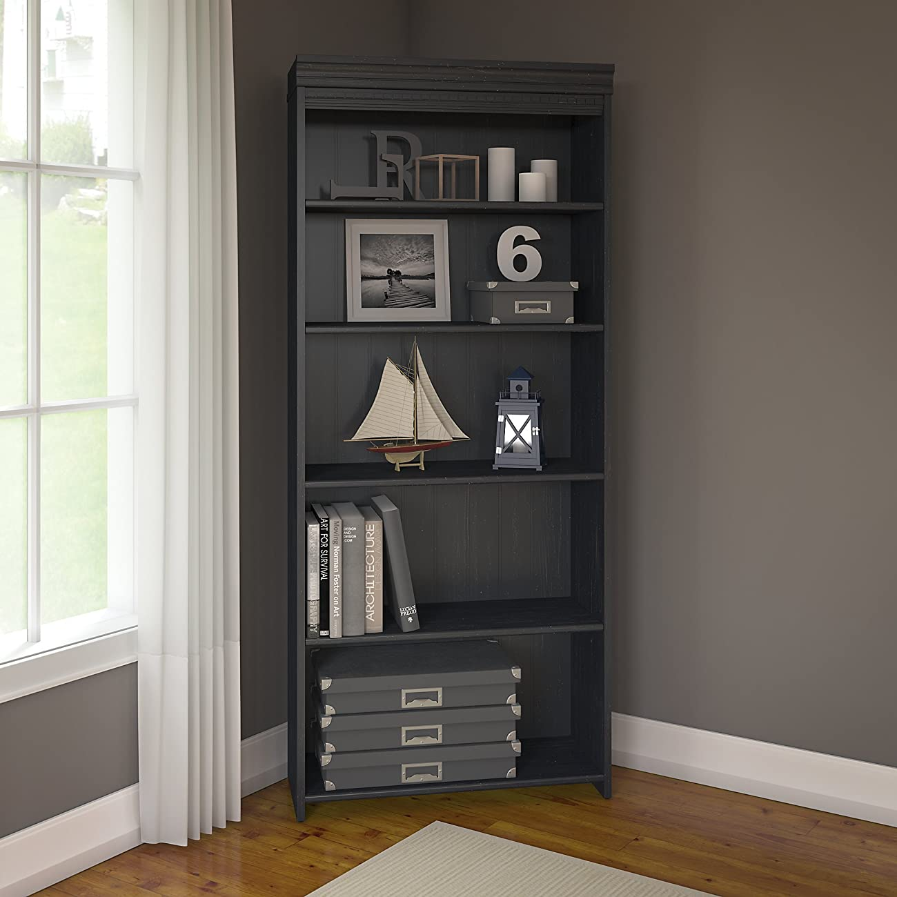 Bush Furniture Fairview 5 Shelf Bookcase, Antique Black 0