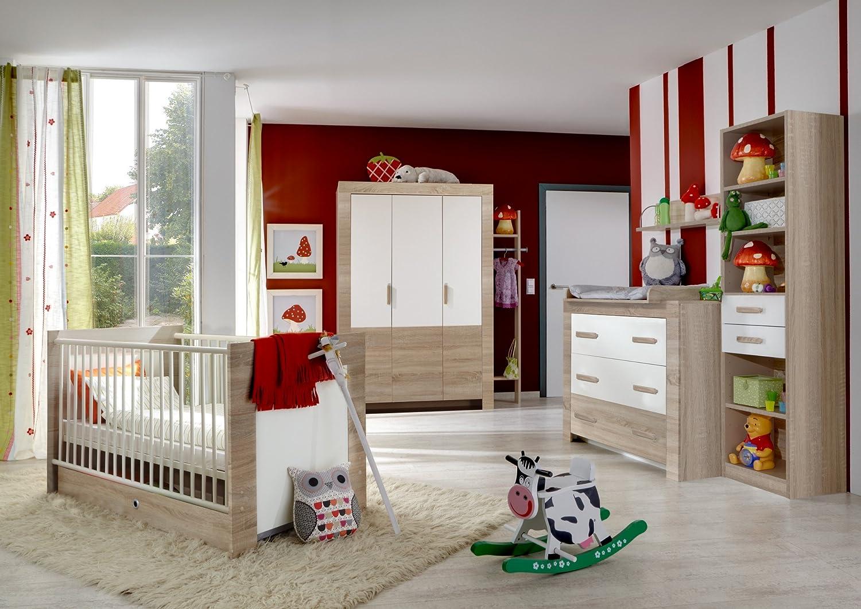 Babyzimmer mit Bett 70 x 140 cm Eiche sägerau/ alpinweiss