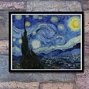 eGoodn Diamond Painting Kit DIY Craft Wall Decor Art, Full Drill 19.7 inches by 15.8 inches, Van Gogh Starry Sky, No Frame (Color: Starry Sky)
