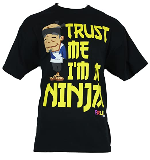 "Fruit Ninja Mens T-Shirt - ""Trust Me I'm a Ninja"" Sensi Image on Black (Extra Large)"