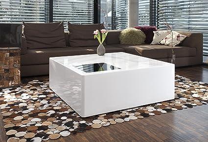 SalesFever Couchtisch BloQ Hochglanz weiß 100x100cm