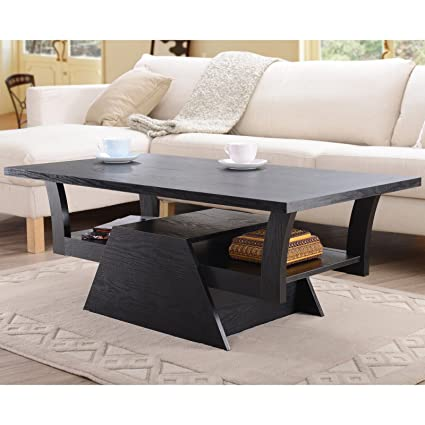Metro Shop Furniture of America Contemporary Black Teeter-Totter Coffee Table
