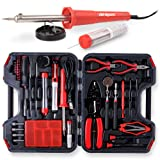 Hi-Spec 60 Piece Electronics Electrical Engineer Tool Kit with 30W Soldering Iron, Desoldering Pump, Wire Crimper, Stripper, Cutter, Magnetic Ratcheting Screwdriver and Bits, IC Extractor Tool in Case (Color: E.60pc Electronics Soldering & Tool Kit)