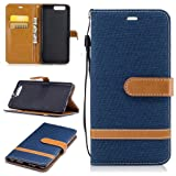 For Huawei P10 Plus Case [with Free Screen Protector], Metatze Premium Soft PU Leather Cowboy Cloth Wallet Cover Case For Huawei P10 Plus(Dark blue) (Color: Dark Blue, Tamaño: Huawei P10 Plus)