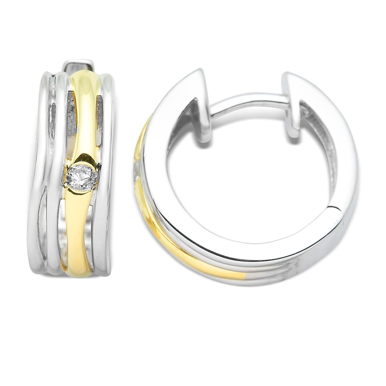Miore Damen-Creolen 9 Karat Gelbgold mit 925 Silber und Brillanten MH9036SE kaufen