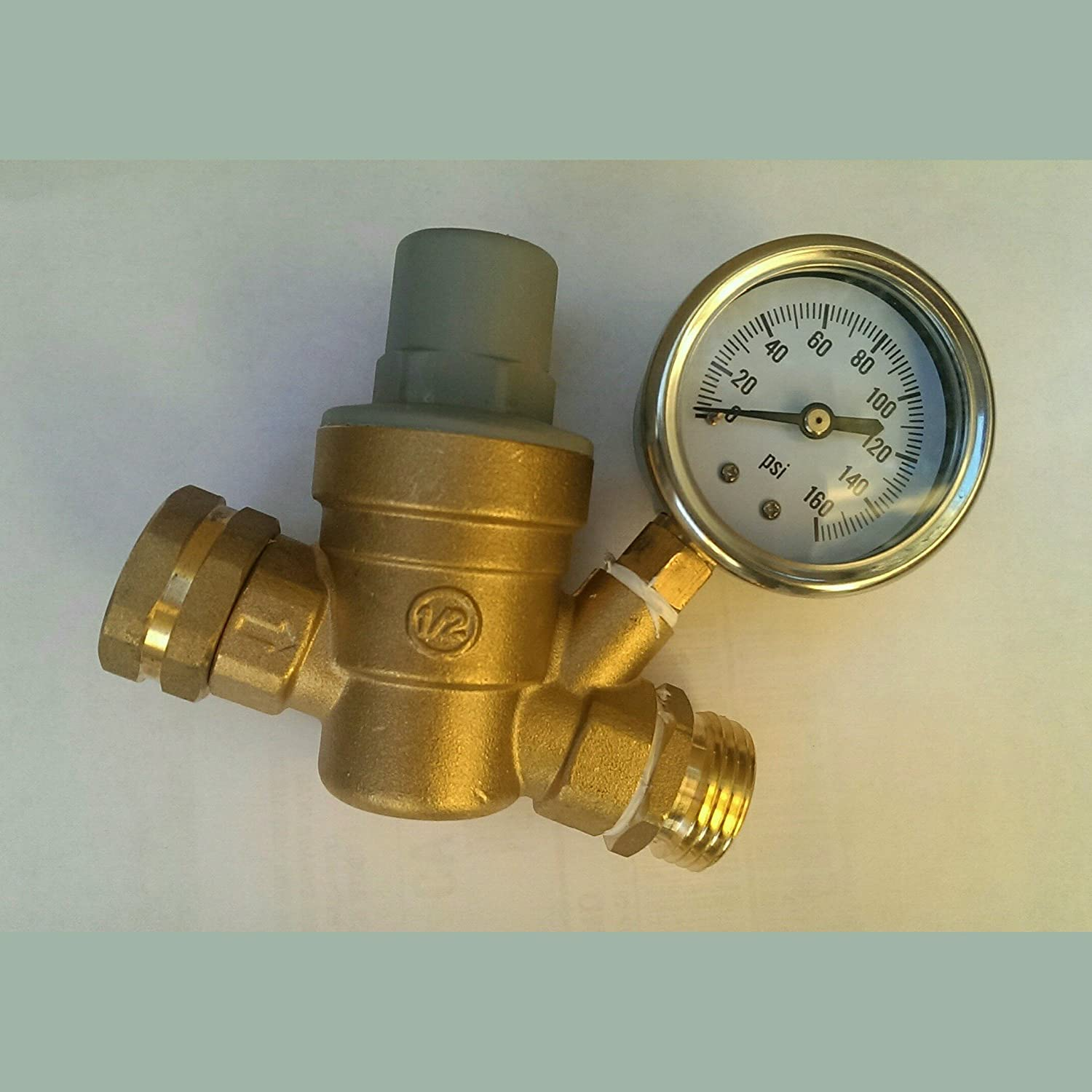 water pressure regulator rv brass lead free adjustable valve gauge irrigation ebay. Black Bedroom Furniture Sets. Home Design Ideas