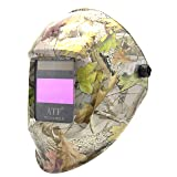ATF Auto Darkening Solar Power Welding Helmet Forest Camo Leaf Mask with 1pc Extra Cover Lens Top Optical Class 1/1/1/1.Large View 3.94