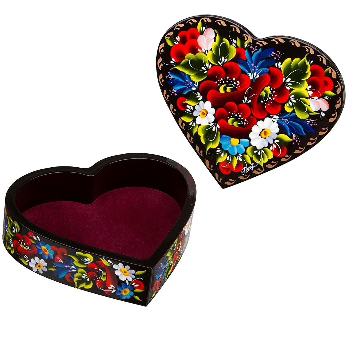 Floral Style Heart-Shaped Lacquer Wooden Jewelry Box Hand Painted in Ukraine
