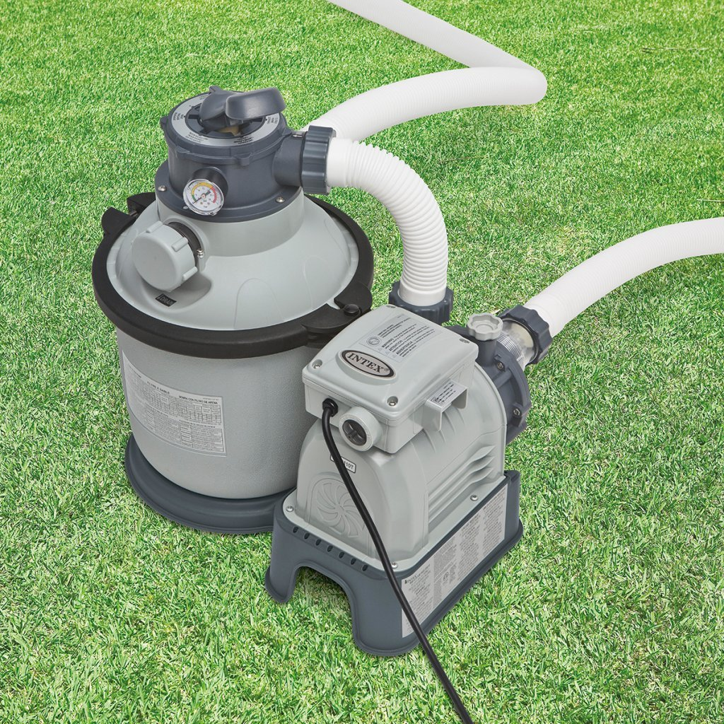 Intex 28644GS Sandfilter, 4,0m³/h, Kessel Durchmesser 254 mm, 230 V, 190 W,12 kg Sand Timer, Anschlussschlauch mit 2