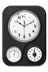 Premier Housewares - Reloj de pared con termómetro y temporizador de cocina, color negro   Comentarios y más información