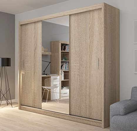 FADO extra large 235 cm mirrored 3 door wardrobe closet with sliding doors mirrors shelves drawers hanging clothes rail in sonoma oak wood efect bedroom hallway furniture