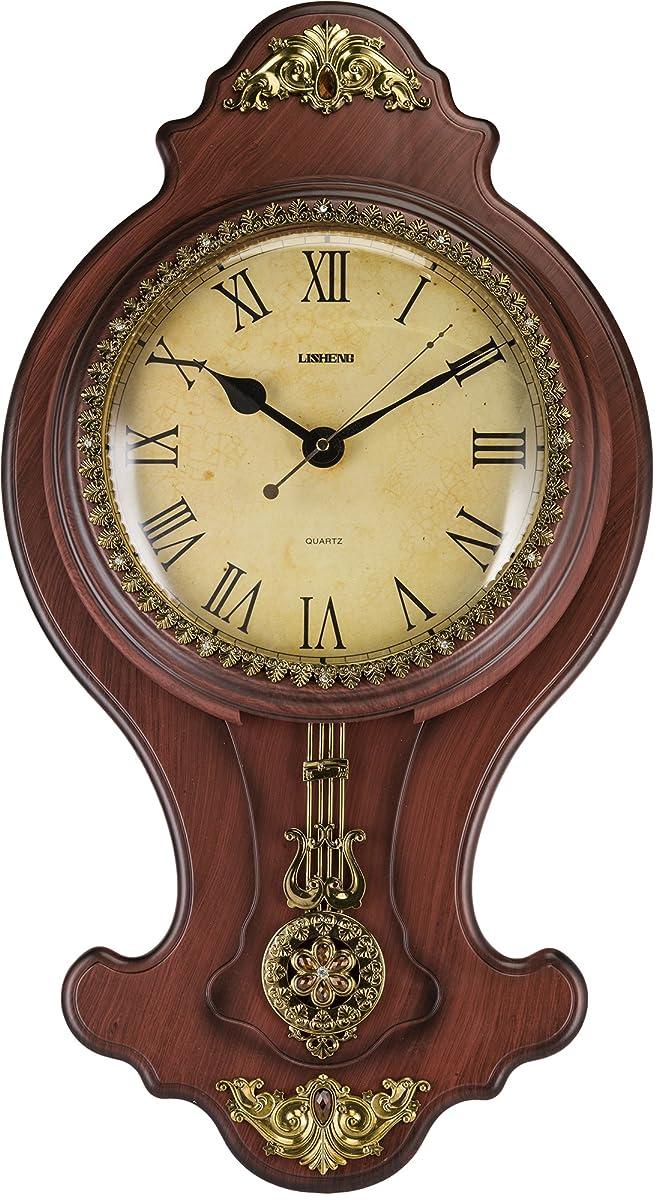 Elegant Wall Swinging Pendulum Clock Faux Wood By Decodyne