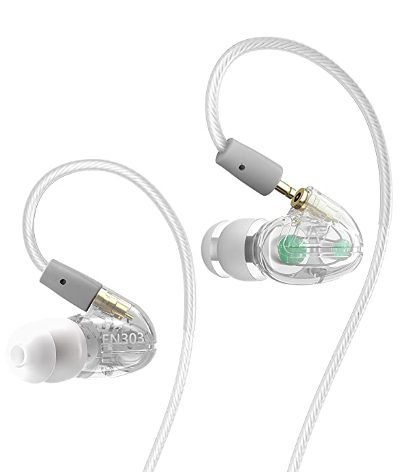 Dual Driver Musician's HiFi Earphone and Earbuds.Sweatproof Over Ear Earbuds for Running Gym Jogging sportEarbuds Heavy Bass Earphones with Memory Wir