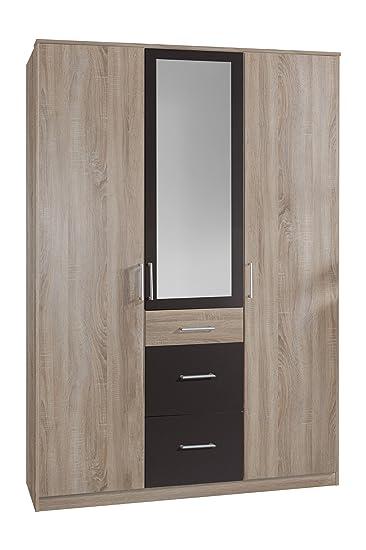 Wimex 148629 Kleiderschrank, 135 x 199 x 58 cm 3-turig mit zwei großen und einen kleinen Schubkasten, 1 Spiegel, Front und Korpus eiche sägerau Nachbildung/ Absetzungen lavafarbig