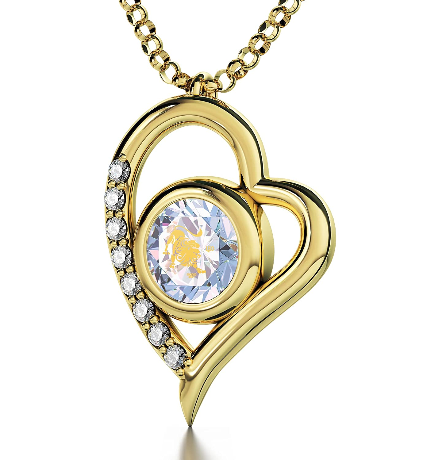 Herz-Schmuck - Vergoldeter Löwe-Anhänger - Astrozeichen-Halskette mit kristallenem Zirkonia - Zodiac-Amulett in 24k Gold beschriftet - Einzigartige Geburtstagsgeschenk-Ideen