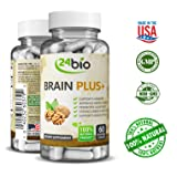 24bio Brain Food Complex – Natural Brain Booster Supplement for better memory, focus, mood- promotes concentration, cognition, clarity – Pills full of Ginkgo Biloba, Guarana, DMAE, Bacopa Monnieri Pow (Color: Beige, Tamaño: 2