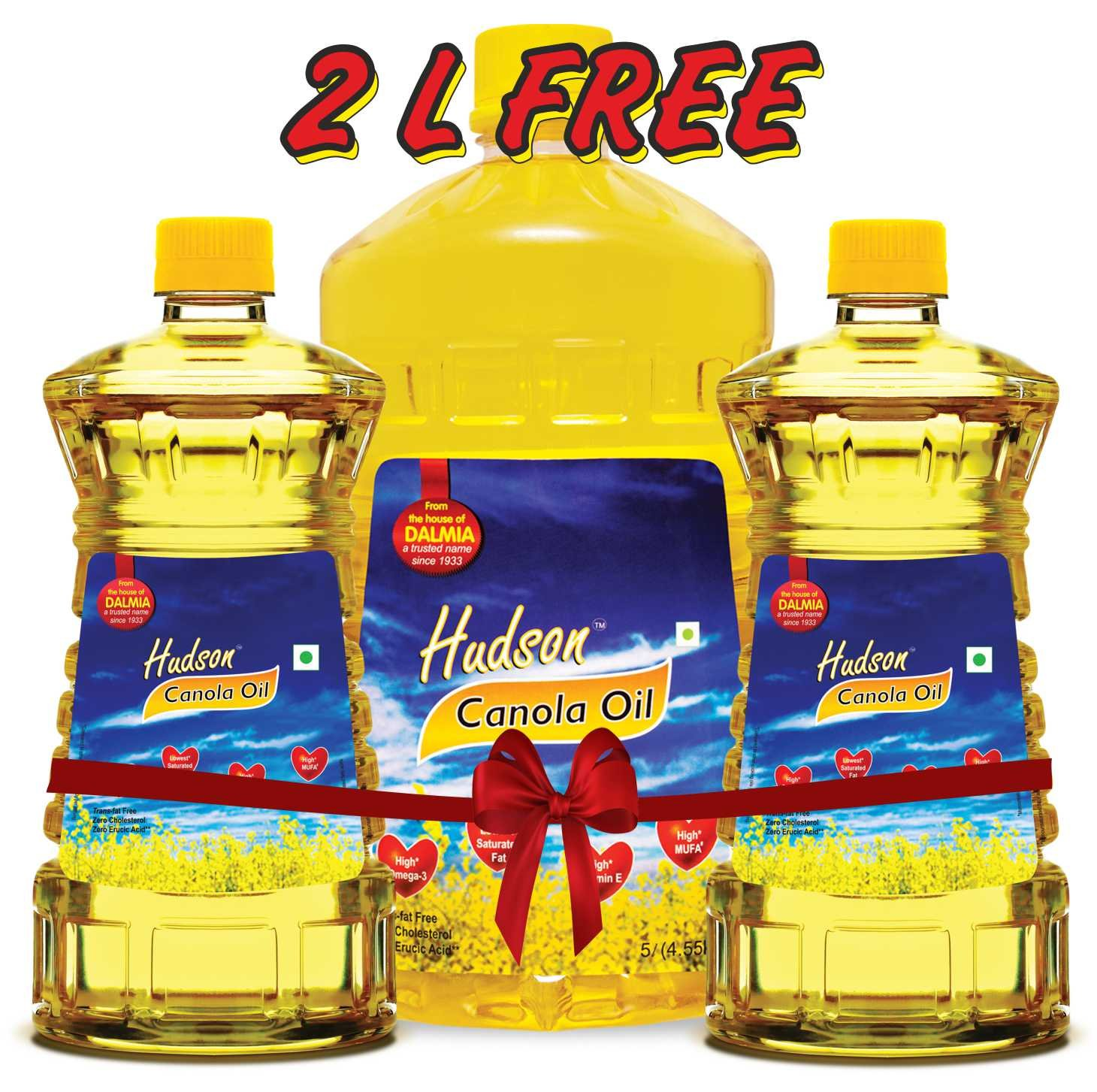Free Oil 2L with Hudson Canola Oil, 5L