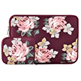 MOSISO Laptop Sleeve Compatible 15 Inch New MacBook Pro with Touch Bar A1990 & A1707 2018 2017 2016 with Small Case, Also Compatible 14 Inch Ultrabook, Water Repellent Lycra Rose Pattern Bag, Wine Red (Color: Wine Red, Tamaño: 14-15 Inch)