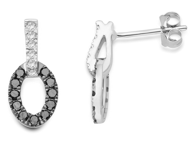 Miore Damen-Ohrsteckerr mit Brillanten 375 Weißgold rhodiniert Diamant (0.34 ct) schwarz Rundschliff – MF9042E jetzt bestellen