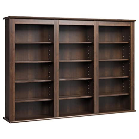 Lightweight 12-shelf Wall-hanging Espresso Finish Media Storage Cabinet Made of Composite Wood (Assembly Required)