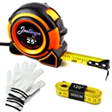 Jeatonge Tape Rule 25-Feet Measuring Tape with Magnetic End / 120-Inch Long Flexbile Soft Tape Measure With Bonus a Pair of Glove
