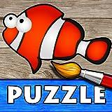 Océan - Puzzle, Couleurs et Dessins pour Enfants, Jeux de Coloriage et Peinture avec les Animaux de la Mer...