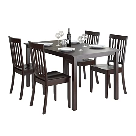 CorLiving 5 Piece DRG-795-Z5 Atwood Dining Set with Stained Chairs, Cappuccino
