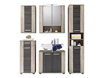 Furnline Star Monument Oak Bathroom Furniture Set, Brown