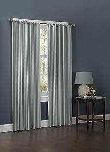blue stripe curtain