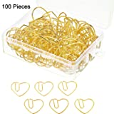 Jetec 100 Pieces 3 cm Love Heart Shaped Small Paper Clips Bookmark Clips for Office School Home (Gold) (Color: Gold)