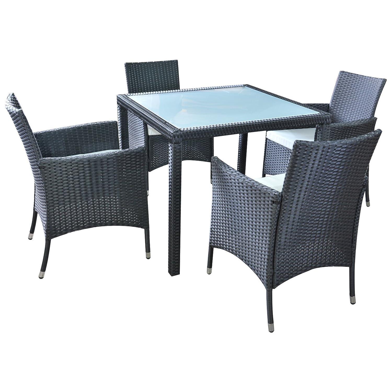 Polyrattan Gartenmöbel Essgruppe Esstisch mit 4 Sessel günstig