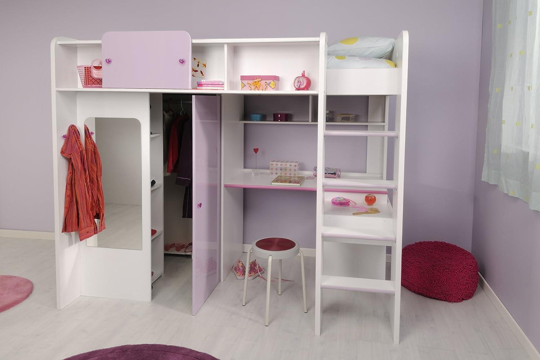 Kinderzimmer Mädchenecke Hochbett mit Kleiderschrank, Schreibtisch 90×200 Yasmin Parisot / Homeline1 kaufen
